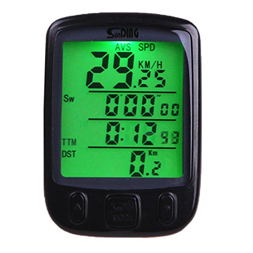 Onedayshop 563A Waterproof 24 Functions LCD Digital Wired Bicycle Bike Cycling Computer Speedometer Odometer Green LED Backlight (Green Cycling Computer compare prices)