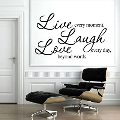 Live Every Moment Laugh Every Day Love Beyond Words Wall Decal Quote Sticker Living Room Decor Wide 70cm High 40cm Black Color