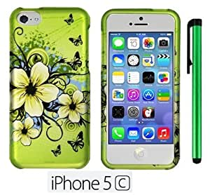 Apple Green Butterfly Flower Premium Design Protector Hard Cover Case for APPLE IPHONE 5C (For the Colorful) + 1 of New Metal Stylus Touch Screen Pen hjbrhga1544