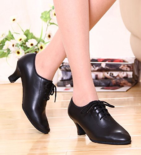 Dancing Latin Lace negro 5 Leather up US 5 Fashionable 35 Shoes Women's BeiBestCoat Shoes Dance fWnxXn