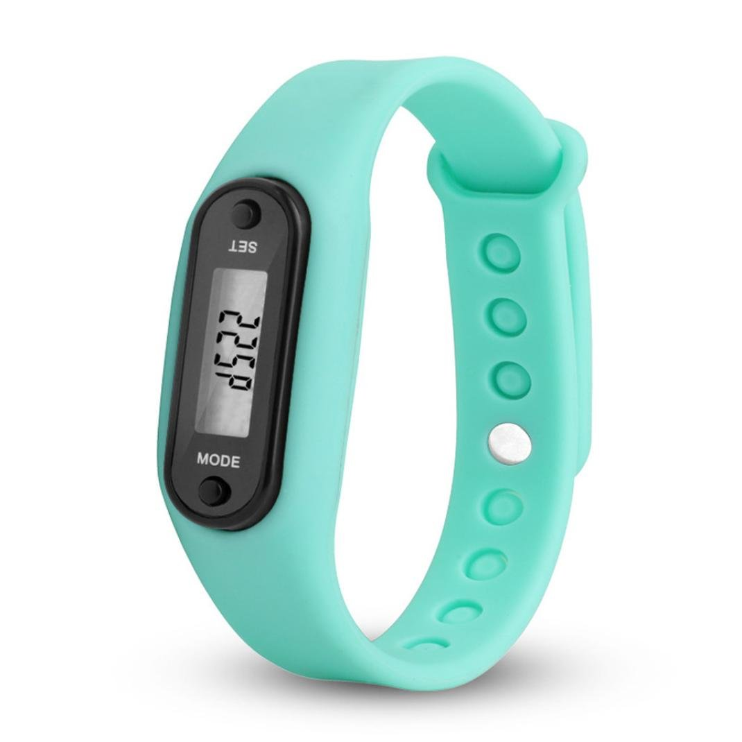 Waterproof Pedometer, Durable Digital LCD Simply Operation Run Step Walking Distance Calorie Counter Watch Bracelet Fitness Tracker Band for Women Men and All Family Numbers (Sky Blue)