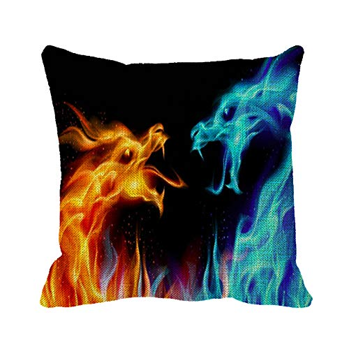 """Julyou Dragons Ice and Fireon Black Decorative Square Throw Pillow Case Cotton Linen Cushion Cover 20""""x 20"""" from Julyou"""