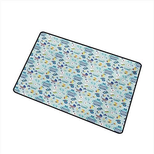 Becky W Carr Baby Welcome Door mat Newborn Sleep Crescent Moon Pacifier Nursery Star Polka Dots Image Door mat is odorless and Durable W19.7 x L31.5 Inch,Pale and Violet Blue Yellow