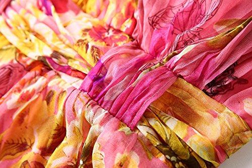 Seta Della Gelso Abito Scollato Spiaggia Di Seta Delle Cdcloth Lungo Donne Estate Dell'imbracatura Da Di Vestito Rosa CXIqRwg