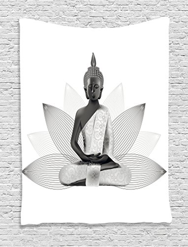 Ambesonne Asian Tapestry, Meditating Statue Silver Color on Lotus Background Far Eastern Asian Sage Art Print, Wall Hanging for Bedroom Living Room Dorm, 40 W X 60 L Inches, White Grey ()