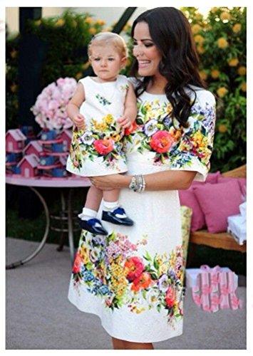 YOUJIA Madre e Hija Vestidos Cuello redondo Floral Impresión Moda Falda Midi Vestido Familia Fiesta Partido #3 Blanco