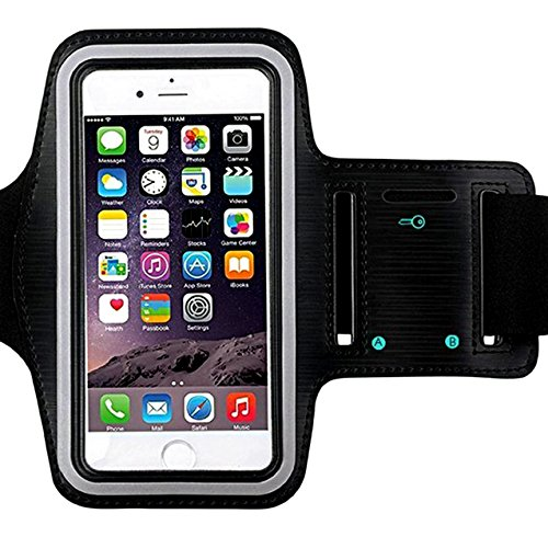 Universal Water Resistant Sports Armband,iBarbe,case Bundle with Screen Protector for iPhone 8/7/6/6S Plus,LG G6 G5,Galaxy s8,s8 Plus s7 s6 Edge,Note 5 Sport Exercise Running Pouch Key Holder (Black)