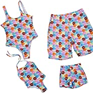 Mommy and Me Cake Print Swimsuits Family Matching Strappy Halter One Piece Swimwear Daddy&Boy Tr