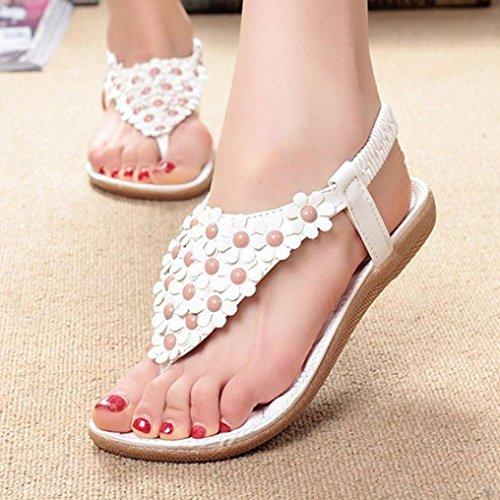 HARRYSTORE Las mujeres de moda dulce de verano Bohemia Sweet Beaded sandalias Clip Toe Sandalias zapatos de playa Herringbone Sandalias Zapatos Blanco