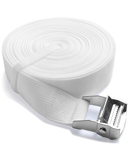 ifrmmy Twins to King Bed Strap Connector- 1.5 inch width and 33 ft long- Bed Doubling System -Twin Bed Joiner with Metal Buckle (white)