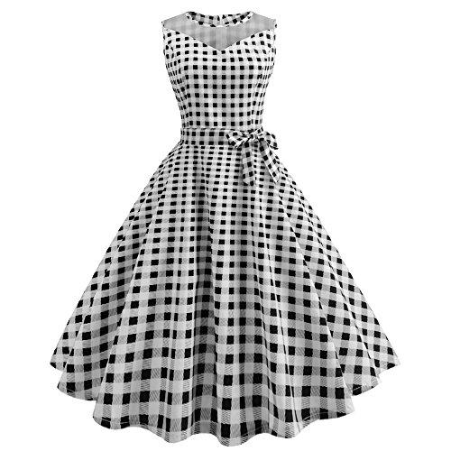 Point De Couleur Birdfly Femmes D'été Variété Pur Style Vintage Imprimé Hepburn Voir Par Robe Jupe Avec Ceinture Taille Plus Noir 2 Litres (92)