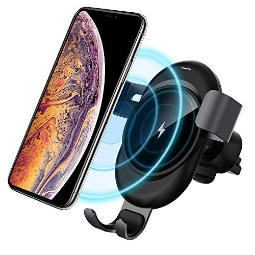 Wireless Car Charger Mount, ESYB 10W Fast Gravity Wireless Charging Quick Charge Auto-Clamping 2in1 Air Vent Phone Holder Cordless Induction Charger for All QI Enabled Phones XS XS Max XR ()