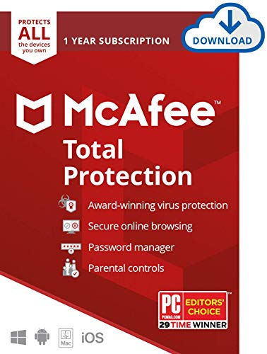 McAfee Total Protection, Unlimited Devices, Antivirus Software, 1 Year Subscription-[Download Code]- 2020 Ready (Best Antivirus App For Mac)