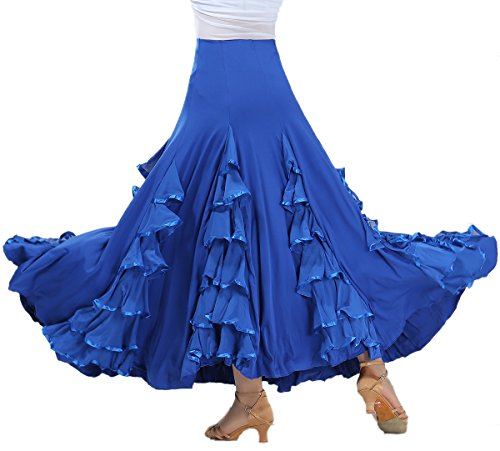 [Flamenco Paso Doble Ballroom Smooth Dancing Skirts Costumes for Women Sale Blue] (Paso Doble Costume)