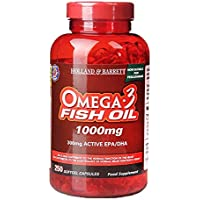 HOLLAND & BARRETT Omega 3 Fish Oil Softgel Capsules,1000mg, 250 count