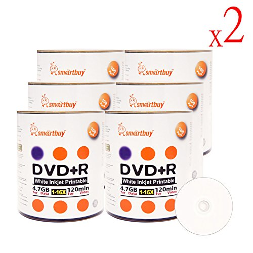 Smartbuy 16x 4 7GB DVD+R White Inkjet Hub Printable Recordable Blank Disc  (1200-Disc) Plastic Wrap / Bulk