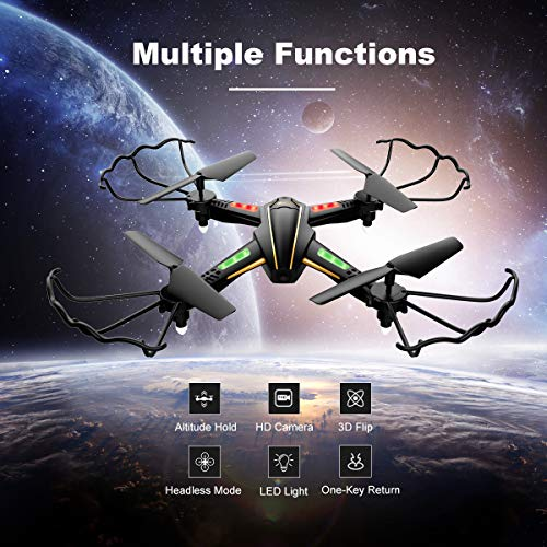 [New Version] WiFi FPV RC Quadcopter Drone with Wide-Angle HD Camera Live Video RTF 4 Channel 2.4GHz 6-Gyro with…