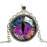 Buytra(TM) Vintage Dragon Cat Eye Glass Cabochon Silver Plated Pendant Necklace