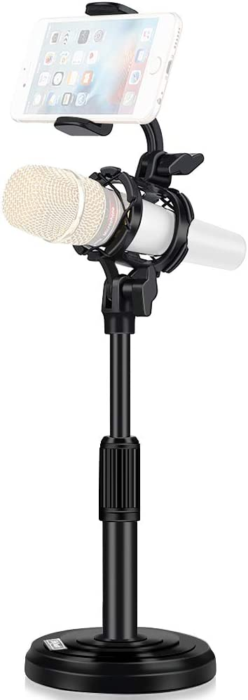 Desktop Microphone Stand with Cell Phone Holder, Adjustable Tabletop mic Stand with Shock Mount and Round Base for Recording Podcasting and Live Streaming.