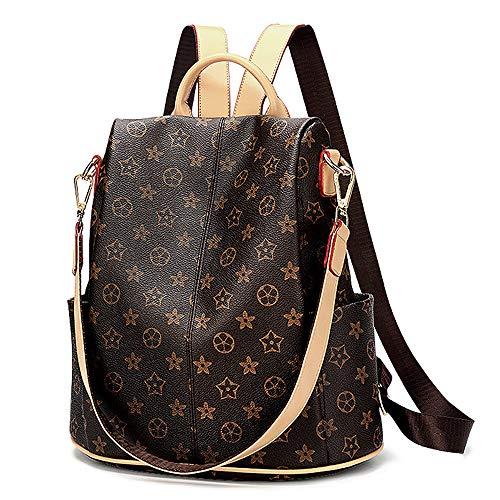 Olyphy Designer Waterproof Leather Nylon Backpack Purse Women, Fashion Shoulder Purse Bookbags (Brown)