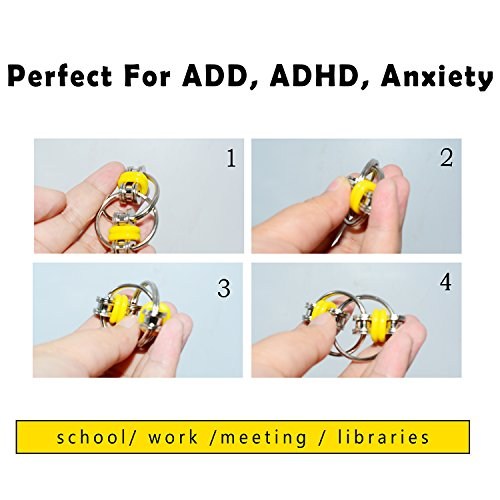 SENQIAO (Pack of 2) Flippy Chain Fidget Toy Stress Reducer EDC Fidget Chain- Perfect for Adult and Children (Black&Yellow) -