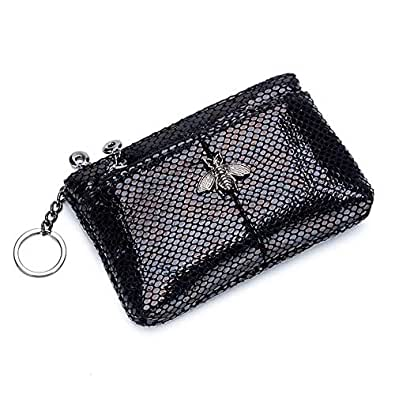 Aladin Leather Little Bee Hardware Design Serpentine Fashion Double Zipper Coin Purse Change Coin Wallet Black Size: Small