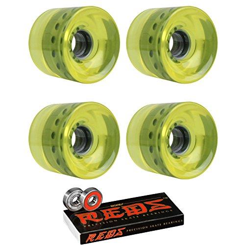 TGM Skateboards Longboard Cruiser Wheels 62mm x 51.5mm 83A 012 Yellow Clear Bones Reds Bearings