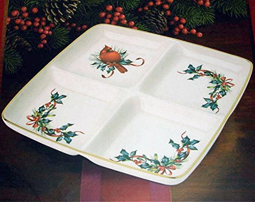 Lenox Winter Greetings 4 Section Divided Tray Dish New In Box (Square Lenox Platter)