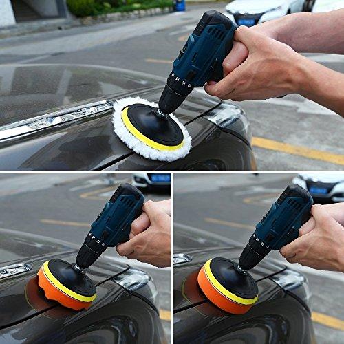 Yosoo Buffing Pads Polishing Pads, 7 Pcs Waxing Sponge Pads Kit Car Polisher with M14 Drill Adapter (7 Inch) by Yosoo (Image #6)'
