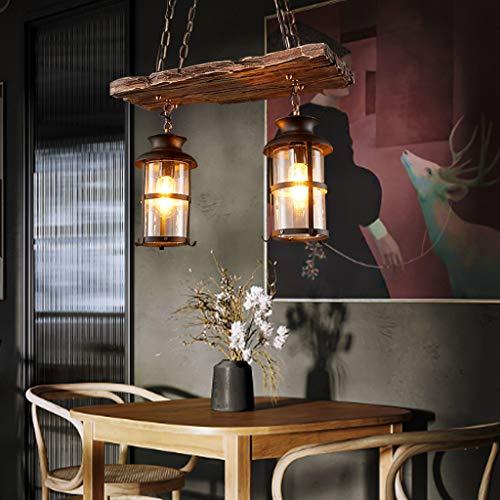 Hanglamp E27 Pastorale Landelijke Stijl Hanglamp Retro Hout Zwart Glas Lampenkap Ijzeren Ketting in Hoogte Verstelbaar…