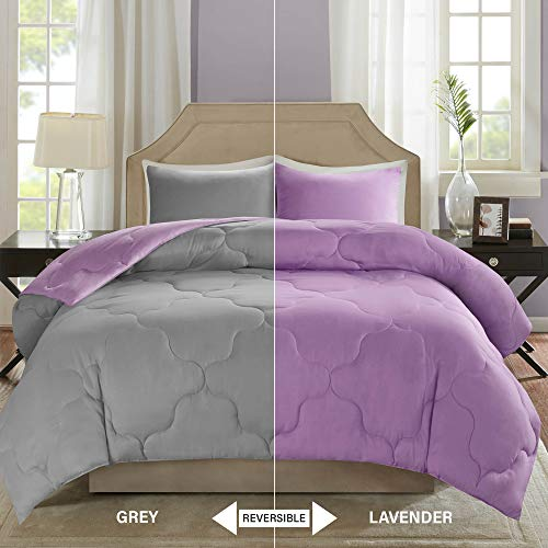 Comfort Spaces – Vixie Reversible Goose Down Alternative Comforter Mini Set - 2 Piece – Purple and Gray – Stitched Geometrical Diamond Pattern – Twin/Twin XL Size, Includes 1 Comforter, 1 Sham Black Friday & Cyber Monday 2018