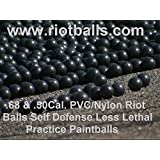 500 X .68 Cal. PVC/Nylon Riot Balls Self Defense Less Lethal Practice Paintball Blacks
