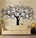 "family room decorating ideas  Family Photo Frame Tree Wall Decals Family Tree Decal Living Room Home Decor (108"" Wide x 84"" Tall) (Black)"