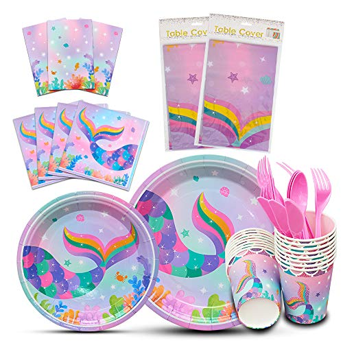 WERNNSAI Mermaid Tableware Set - Mermaid Sparkle Party Supplies for Girls Disposable Dinner Dessert Plates Napkins Cups Tablecloth Under The Sea Summer Pool Party Serves 16 Guests 130 Pieces -
