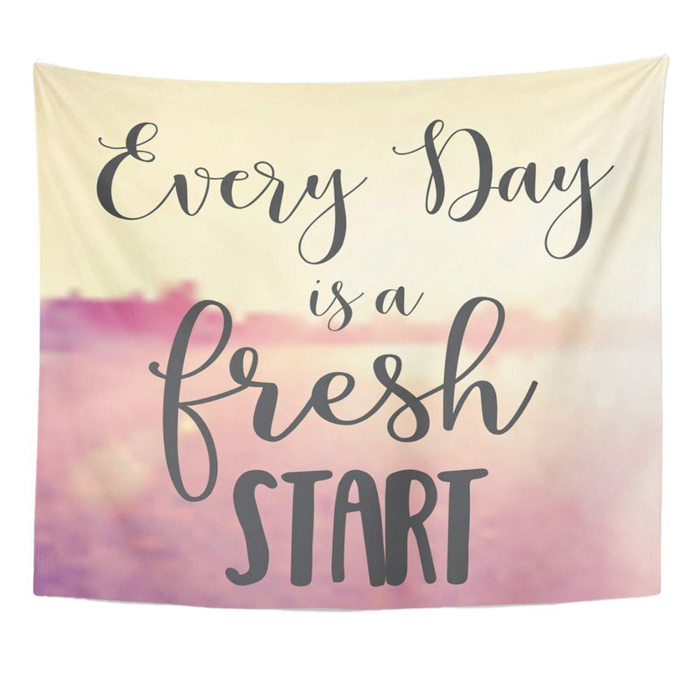 Emvency Tapestry Wall Hanging Dream Quote Every Day is Fresh Start Summer Breathe Friendship Just Beach Blur Polyester Fabric Home Decor for Living Room Bedroom Dorm 50x60 Inches by Emvency