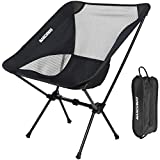 MARCHWAY Ultralight Folding Camping Chair, Portable Compact for Outdoor Camp, Travel, Beach, Picnic, Festival, Hiking, Lightweight Backpacking (Black)