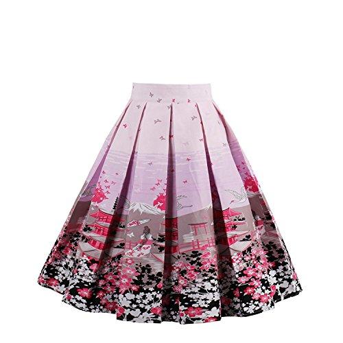 NALATI Femme Jupe de Haute Taille Jupe A-Ligne Jupe de Style VintageJupe Pliss Jupe Swing Annes 50 Jupe Imprime Floraux Jupe Evas Rose