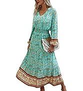 Angashion Women's Dresses Floral Adjustable Spaghetti Strap V Neck Boho Long Maxi Dress Summer Be...