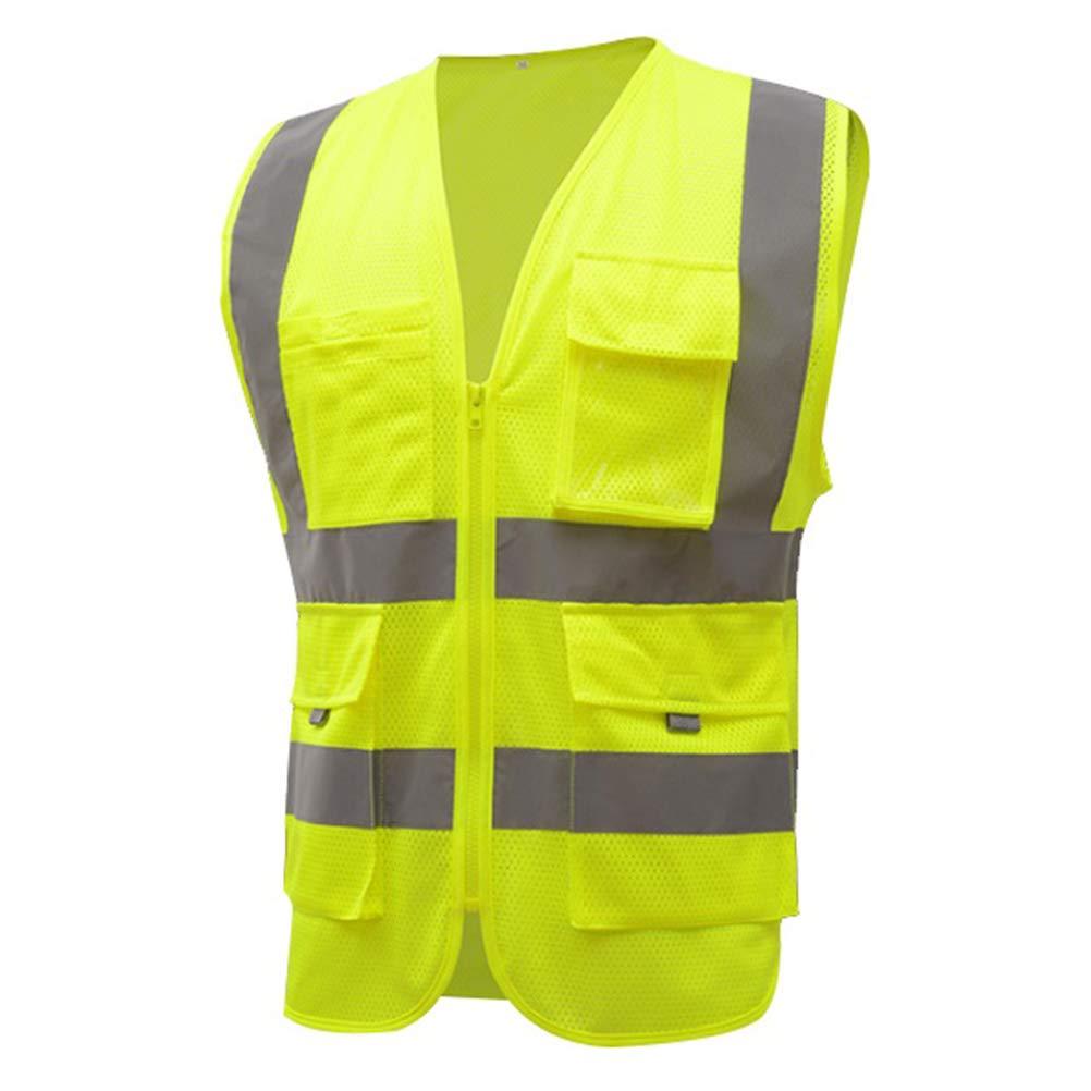 HSNMEY Gilet S/écurit/é 360/° Protection Maille Respirant Confort Zip M/étallique Ruban Reflechissant en ISO 20471 Visualis/é Nuit A/éroports Chantier Pont Routier P/êche Randonn/ée