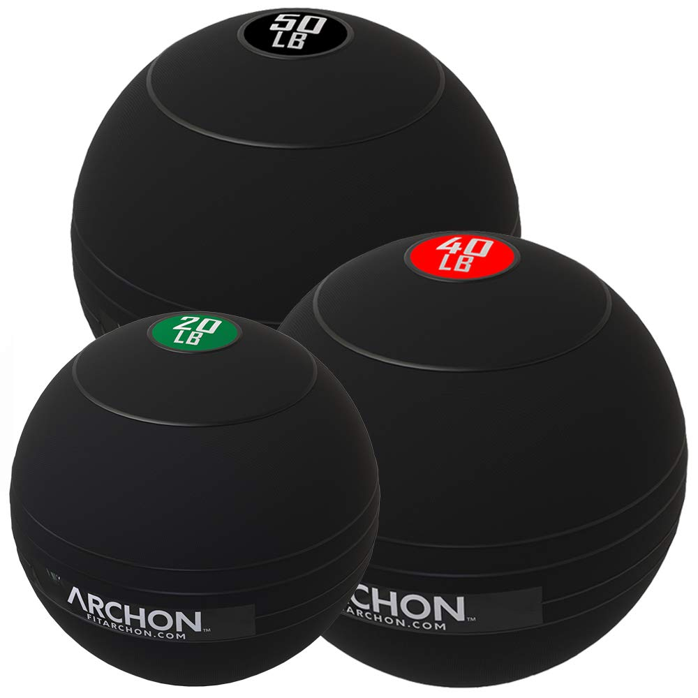 ARCHON Training 20 LB, 40 LB, and 50 LB Pound Slam Ball Set | Crossfit Workout | No Bounce Exercise Ball | Gym Equipment Accessories | Plyometric Exercise | Cardio | Jam Ball | Squats | Medicine Ball