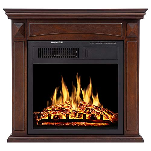 JAMFLY Electric Fireplace Mantel Package Wood Surround Firebox Freestanding Corner Fireplace Infrared Quartz Heater Adjustable Led Flame, w/Logs, Remote Control, 750W-1500W, Brown (Decorative Electric Fireplace)