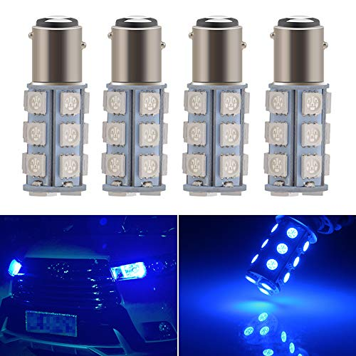 Everbright Blue 1157 Led Bulb, 1016 1034 7528 BAY15D Base 18 SMD 5050 LED Replacement Bulb For RV SUV MPV Car Turn Tail Signal Bulb Brake Light Lamp Backup Lamps Bulbs DC 12V (Pack of 4)