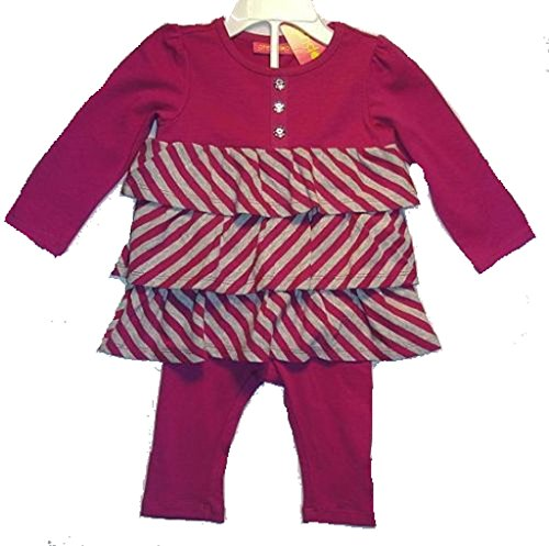 - GREENDOG Girls 6-9 Months Purple Striped Tiered Top Leggings Set Outfit