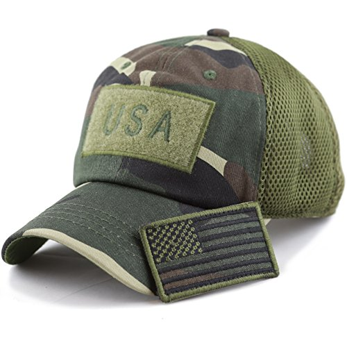 The Hat Depot Low Profile Tactical Operator with USA Flag Patch Buckle Cotton Cap (USA- Camo) (Camouflage Buckle)