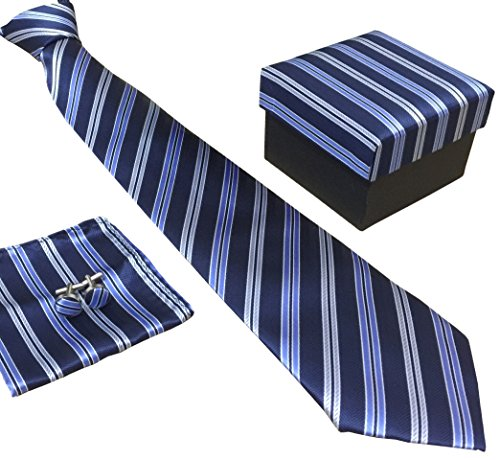 Blue Stripe Necktie (Secdtie Men's SILK Tie Set: Necktie+Hanky+Cufflinks,Light Blue Stripe Necktie)