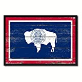 Wyoming State Flag Canvas Print, Black Picture Frame Gift Ideas Home Decor Wall Art Decoration