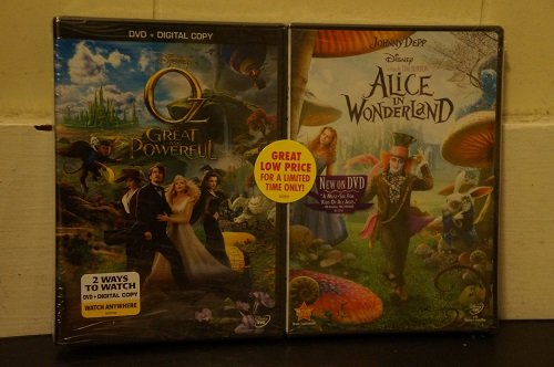 OZ THE GREAT AND POWERFUL and ALICE IN WONDERLAND 2-Pack DVD with Digital Copy (Both GREAT Movies 1 DVD Set Together) Johnny Depp, Tim Burton