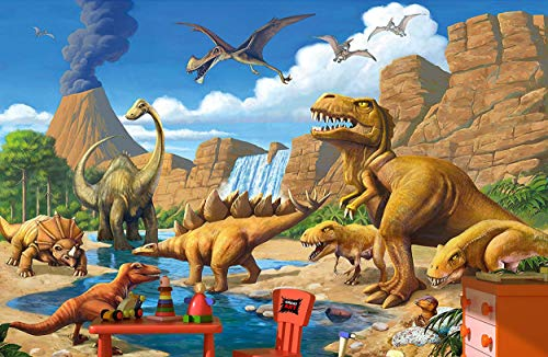 Childrens Wallpaper - GREAT ART Wallpaper Children Room Adventure Dinosaur – Wall Picture Decoration Dino World Comic Style Jungle paperhanging Poster (132.3 Inch x 93.7)