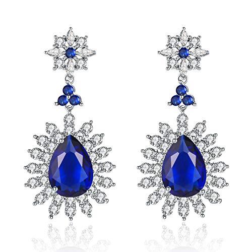 Me&Hz Blue Swarovski Crystal Dangle Earrings Sapphire Teardrop Cubic Zirconia Crystal Flower Dangling Earrings Statement Wedding Jewelry - Flower Dangling Crystal
