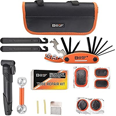 "Bibycle Tire Repair Kit - Best Glueless Puncture Tire Repair, Quality Assurance, Include Mini Bike Pump Portable, 12 In 1 Multifunction Tools Set, Tire Lever,Socket Wrench ( In 9 "" Mountain Bike Bag?"